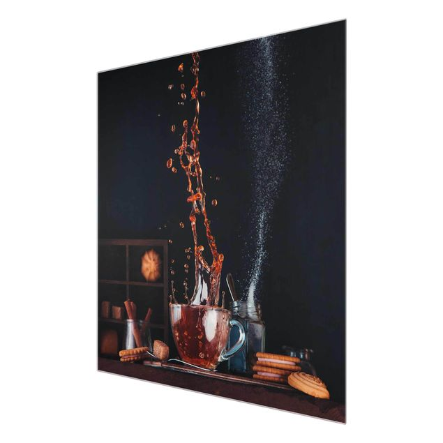 Glasbild - Tee Komposition - Quadrat 1:1