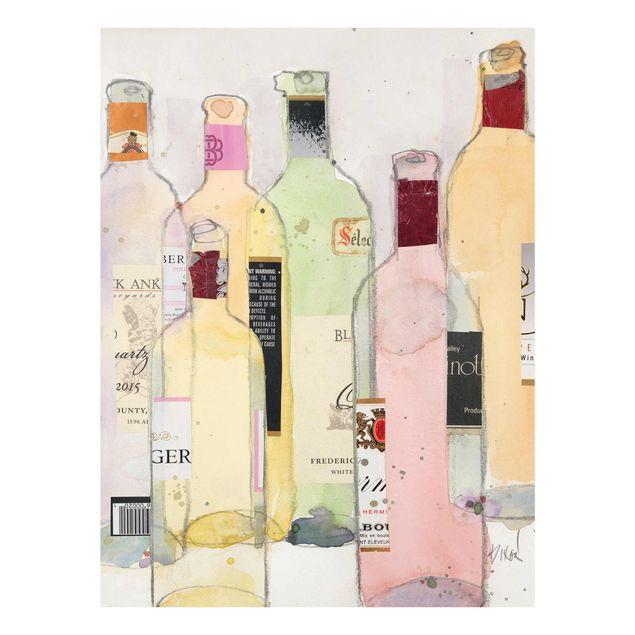 Glasbild - Weinflaschen in Wasserfarbe I - Hochformat 4:3