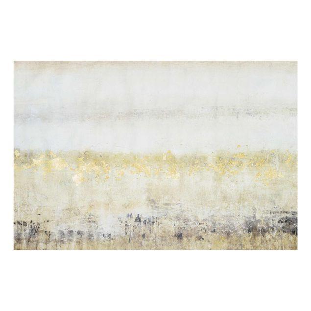 Glasbild - Goldene Farbfelder I - Querformat 2:3