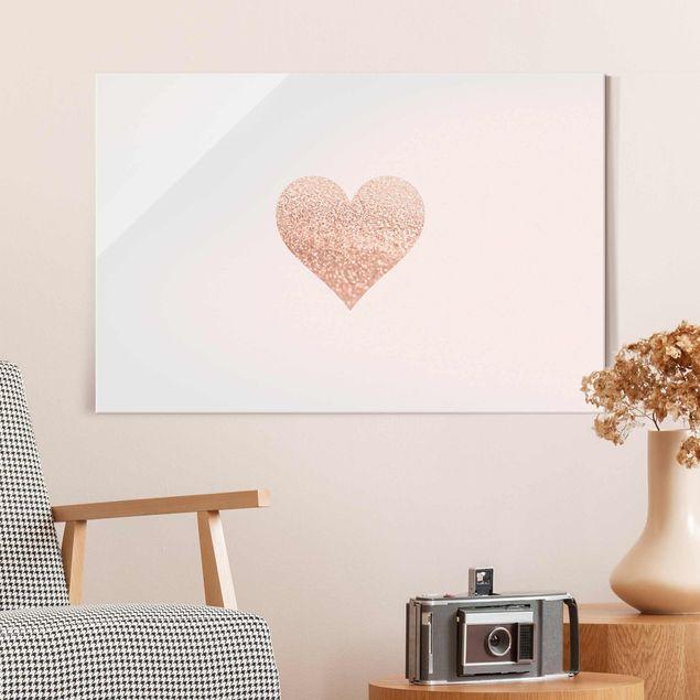 Glasbild - Glitzerndes Herz - Querformat