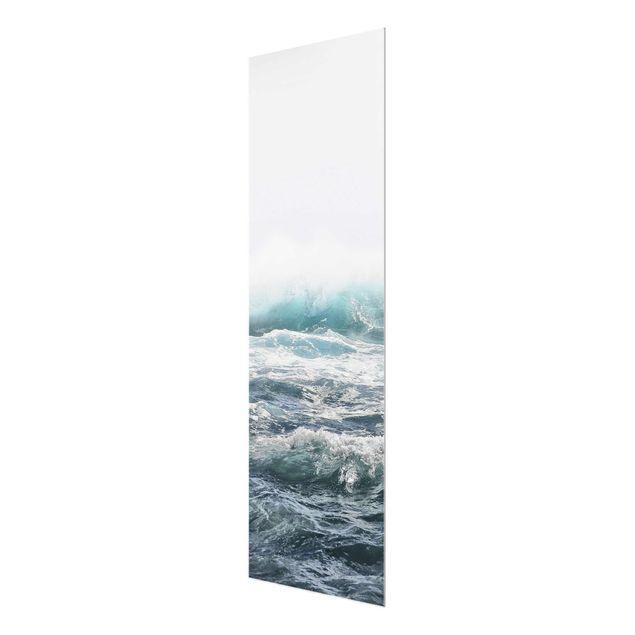 Glasbild - Große Welle Hawaii - Hochformat