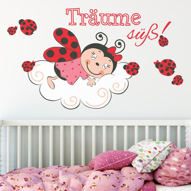 Mehrfarbiges Wandtattoo - Marienkäfer Träume süß