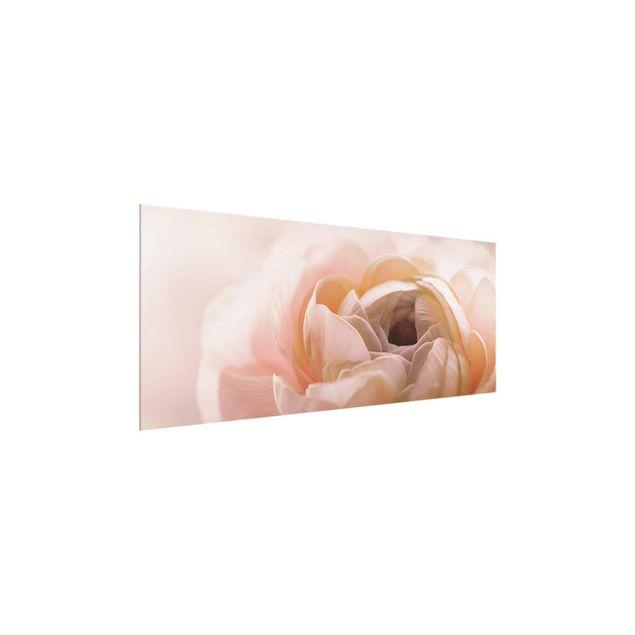 Glasbild - Rosa Blüte im Fokus - Panorama