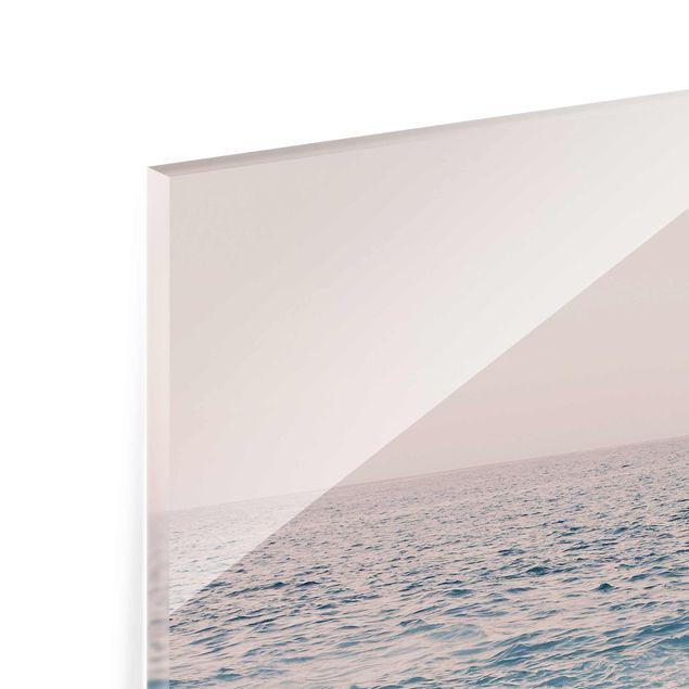 Glasbild - Roségoldener Strand am Morgen - Quadrat