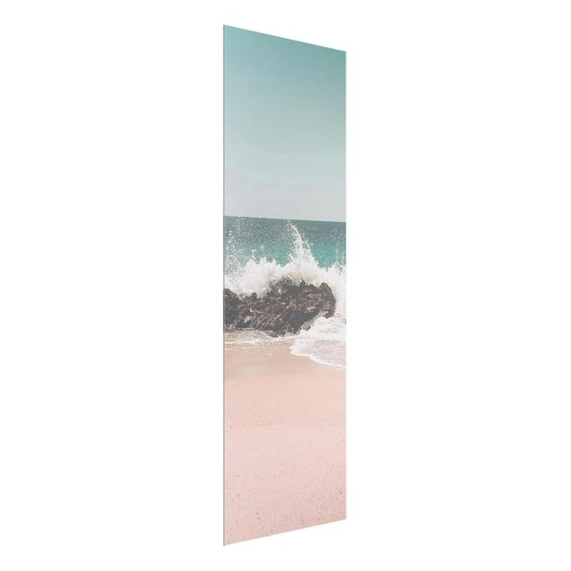 Glasbild - Sonniger Strand Mexico - Hochformat