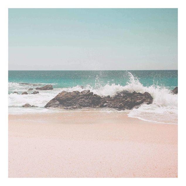Glasbild - Sonniger Strand Mexico - Quadrat