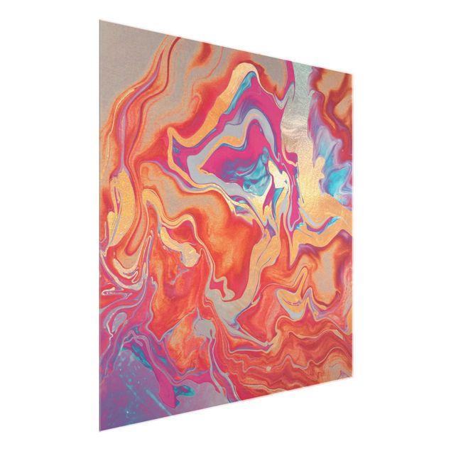 Glasbild - Spiel der Farben Goldenes Feuer - Quadrat