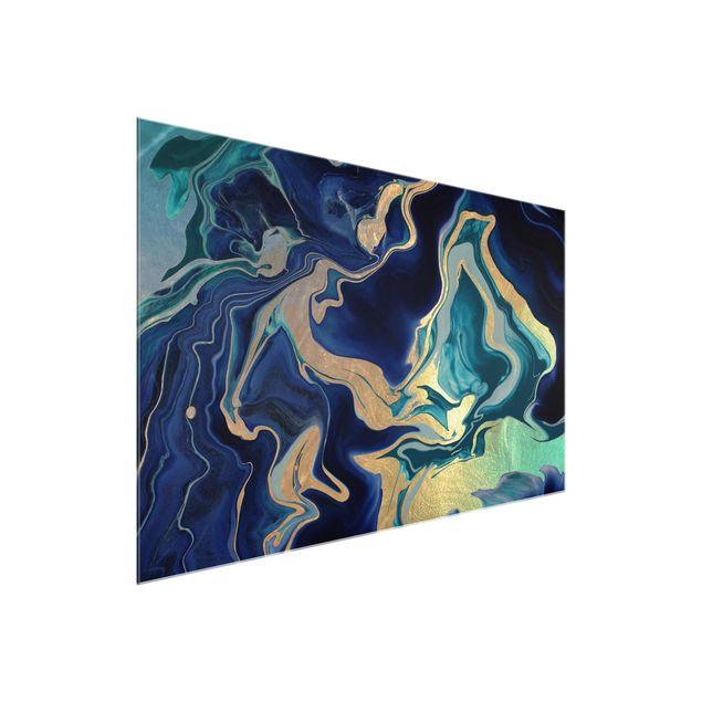 Glasbild - Spiel der Farben Indigo Feuer - Querformat