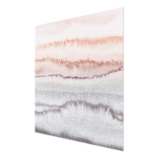 Glasbild - Spiel der Farben Meeresrauschen im Nebel - Quadrat