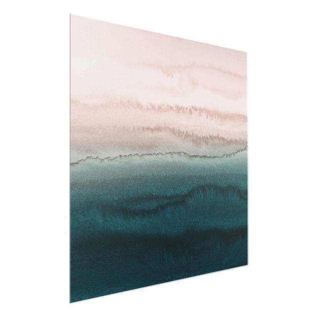 Glasbild - Spiel der Farben Meeresrauschen - Quadrat