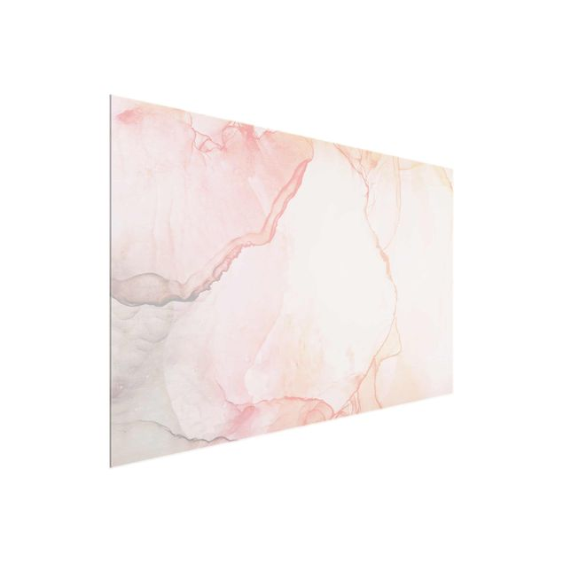 Glasbild - Spiel der Farben Pastell Zuckerwatte - Querformat