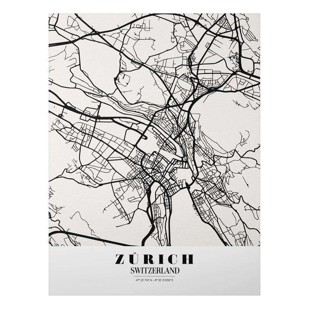 Alu-Dibond Bild - Stadtplan Zürich - Klassik