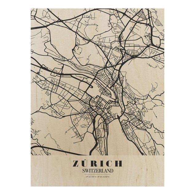 Holzbild -Stadtplan Zürich - Klassik- Hochformat 3:4