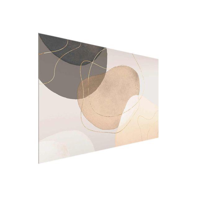 Glasbild - Verspielte Impressionen in Beige - Querformat