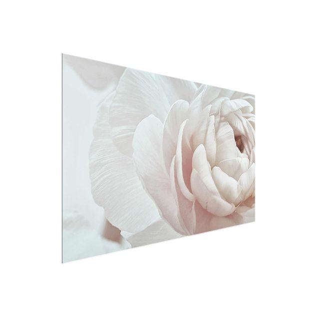 Glasbild - Weiße Blüte im Blütenmeer - Querformat