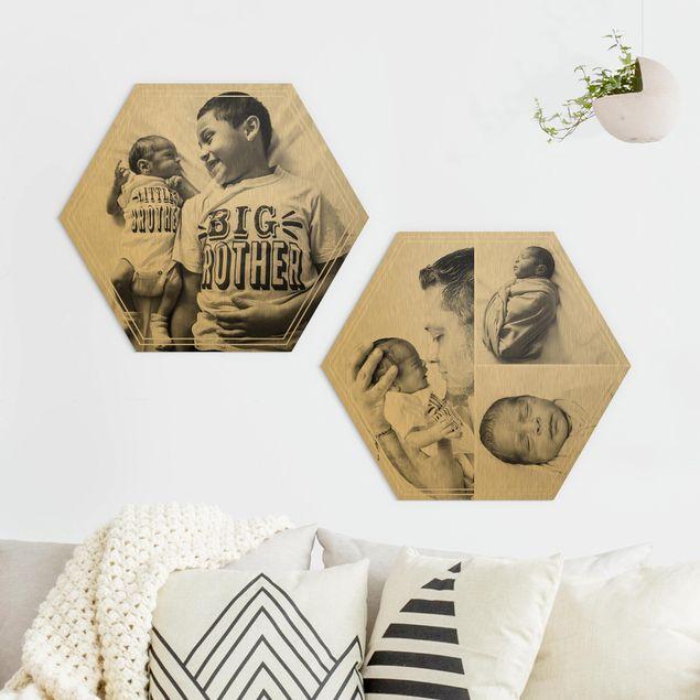 2-teiliges Hexagon Bild Alu-Dibond gebürstet Gold selbst gestalten