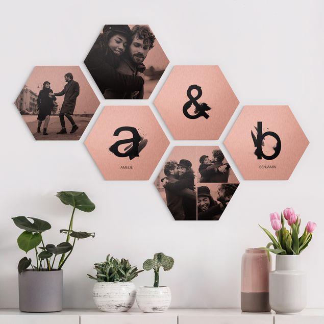 6-teiliges Hexagon Bild Alu-Dibond gebürstet Kupfer selbst gestalten