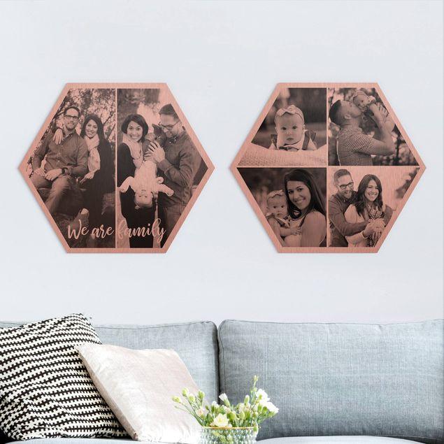 2-teiliges Hexagon Bild Alu-Dibond gebürstet Kupfer selbst gestalten