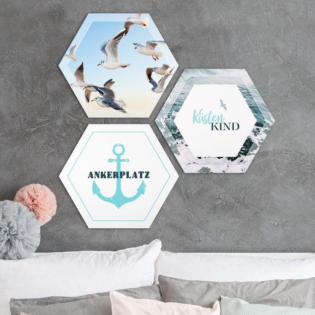 3-teiliges Hexagon Bild Alu-Dibond seidenmatt selbst gestalten