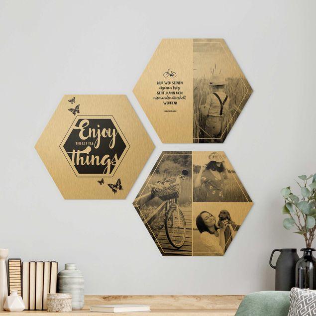 3-teiliges Hexagon Bild Alu-Dibond gebürstet Gold selbst gestalten