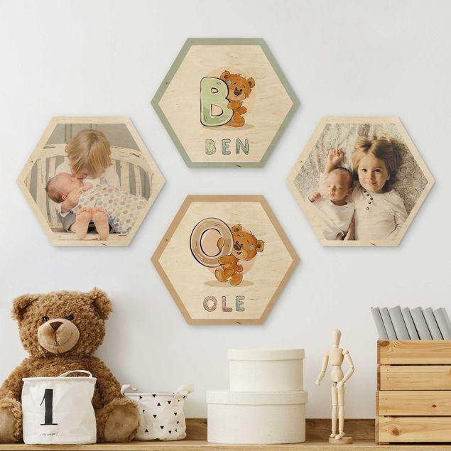4-teiliges Hexagon Bild Holz selbst gestalten