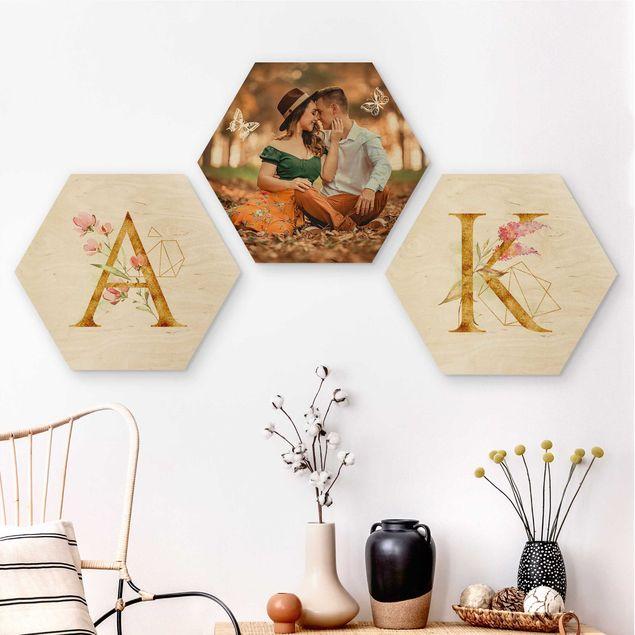 3-teiliges Hexagon Bild Holz selbst gestalten