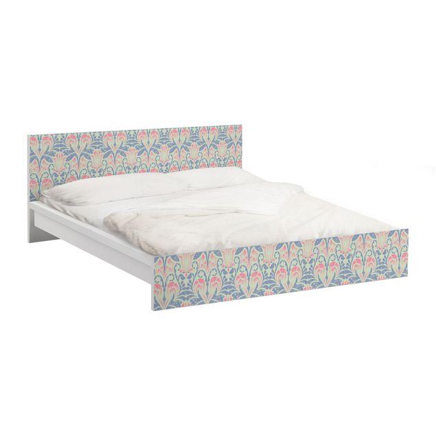 Möbelfolie für IKEA Malm Bett niedrig 180x200cm - Klebefolie Leinen Damast Ornament
