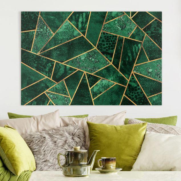 Leinwandbild - Dunkler Smaragd mit Gold - Querformat 2:3