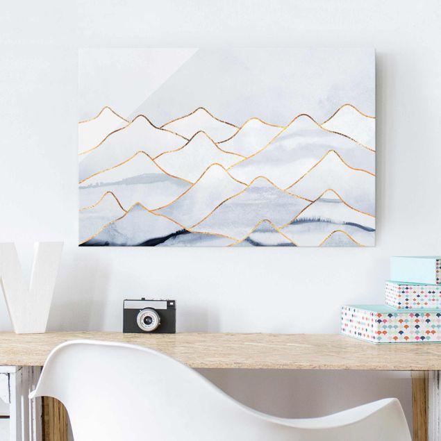 Glasbild - Aquarell Berge Weiß Gold - Querformat 2:3