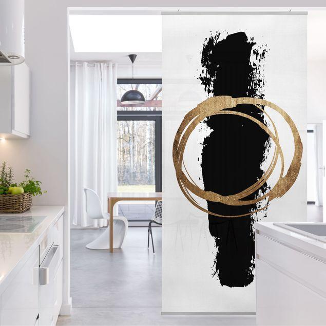 Raumteiler - Abstrakte Formen - Gold und Schwarz - 250x120cm