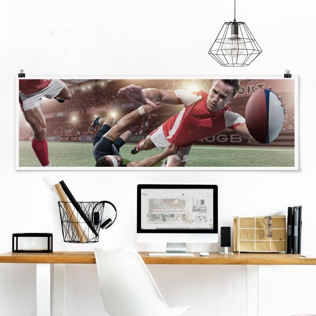 Poster - Rugby In Motion - Panorama Querformat