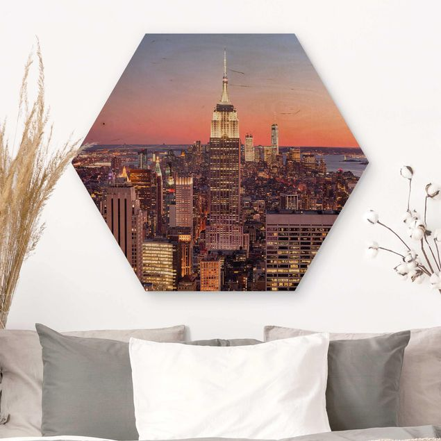 Hexagon Bild Holz - Sonnenuntergang Manhattan New York City