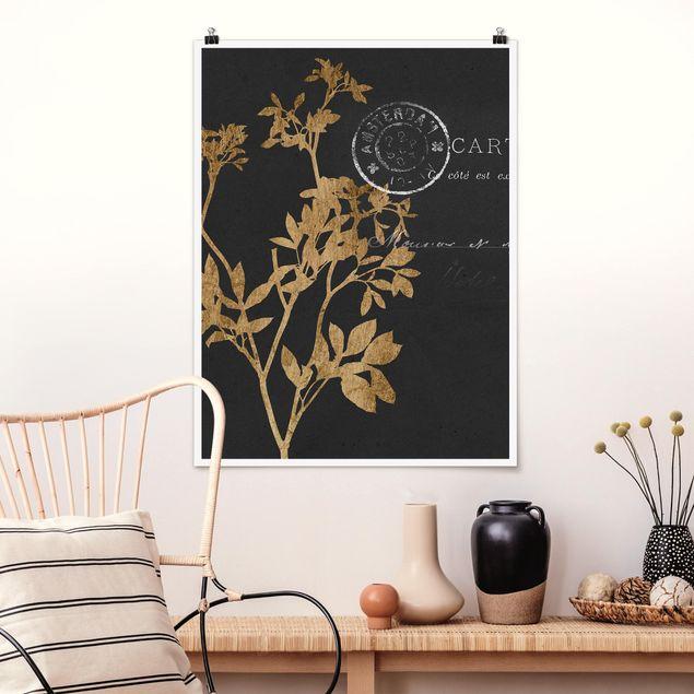 Poster - Goldene Blätter auf Mokka I - Hochformat 3:4