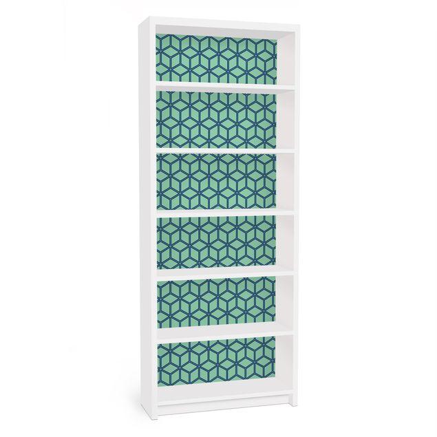 Möbelfolie für IKEA Billy Regal - Klebefolie Würfelmuster grün