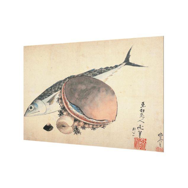 Spritzschutz Glas - Katsushika Hokusai - Makrele und Seemuscheln - Querformat - 3:2