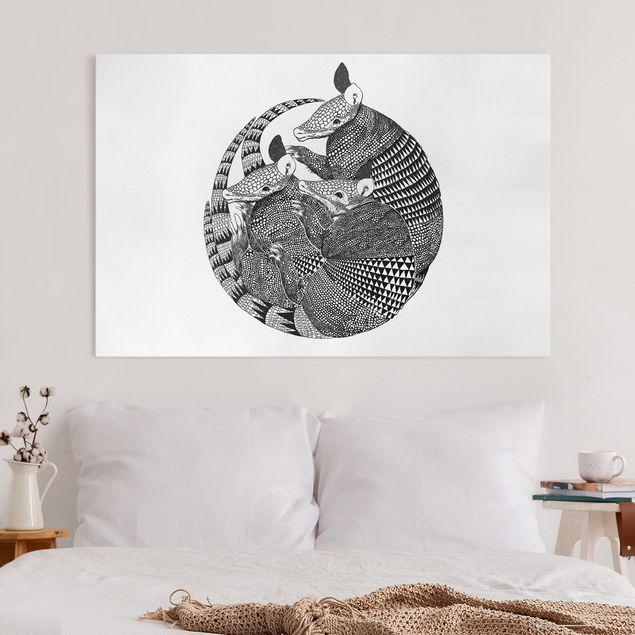Leinwandbild - Illustration Gürteltiere Schwarz Weiß Muster - Querformat 2:3