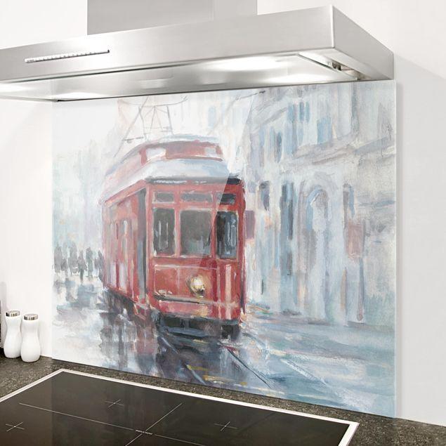 Glas Spritzschutz - Straßenbahn-Studie II - Querformat - 4:3