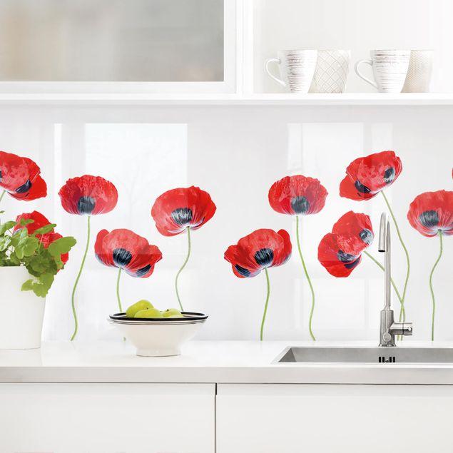 Küchenrückwand - Marienkäfer Mohnblumen II