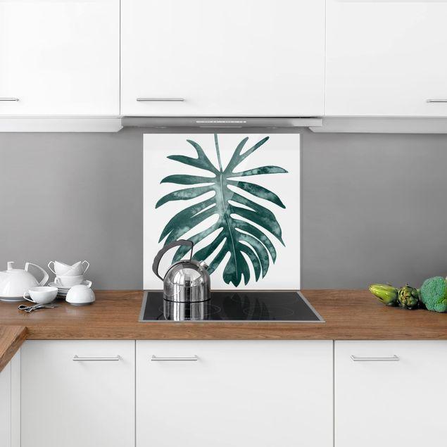Glas Spritzschutz - Smaragdgrüner Philodendron Angustisectum - Quadrat - 1:1