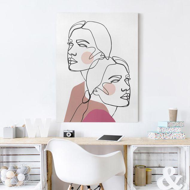 Leinwandbild - Line Art Frauen Portrait Wangen Rosa - Hochformat 4:3