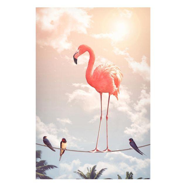 Magnettafel - Jonas Loose - Himmel mit Flamingo - Memoboard Hochformat 3:2
