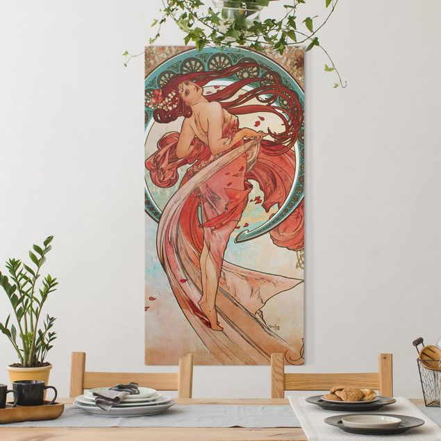 Leinwandbild - Alfons Mucha - Vier Künste - Der Tanz - Hochformat 2:1