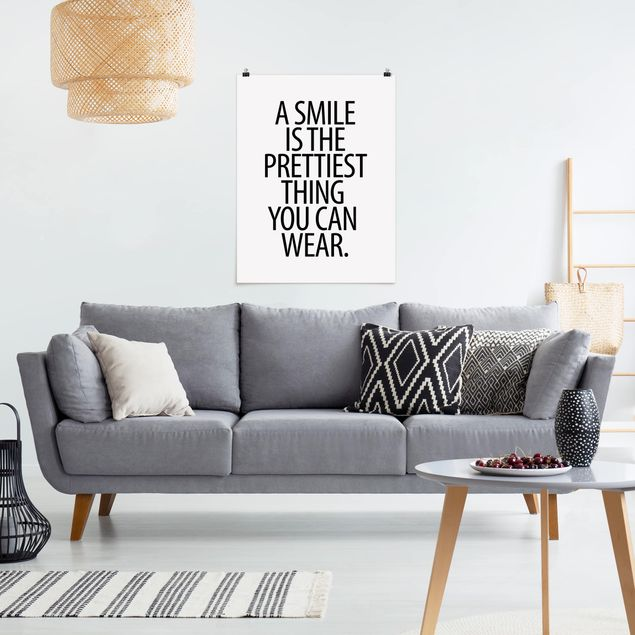 Poster - A Smile is the prettiest thing Sans Serif - Hochformat 3:4
