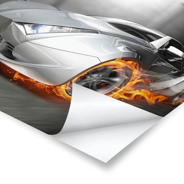 Poster - Supercar in Flammen - Quadrat 1:1