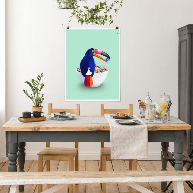 Poster - Jonas Loose - Frühstück mit Tukan - Hochformat 3:4