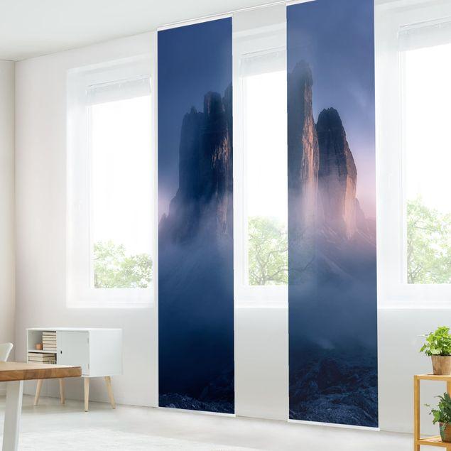 Schiebegardinen Set - Drei Zinnen in blauem Licht - Flächenvorhang
