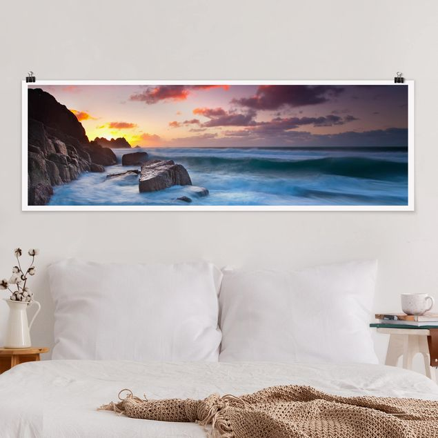 Poster - Am Meer in Cornwall - Panorama Querformat