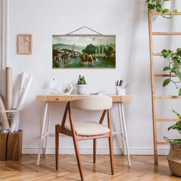 Stoffbild mit Posterleisten - Edouard Manet - Pferderennen - Querformat 2:1