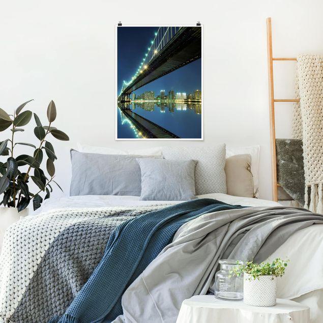 Poster - Abstract Manhattan Bridge - Hochformat 3:4