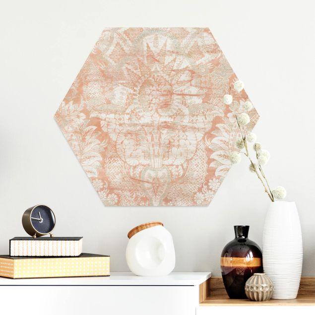 Hexagon Bild Alu-Dibond - Ornamentgewebe I